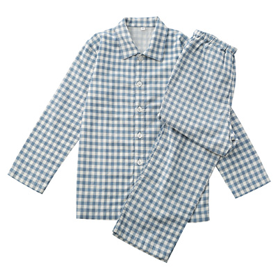 綿二重ガーゼパジャマ・長袖(キッズ) キッズ150・サックスブルー×チェック