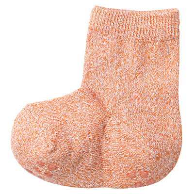 足なり直角撚り杢くつした(ベビー) ベビー13~15cm・オレンジ