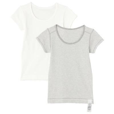 肌あたりがやさしい半袖シャツ・2枚組(キッズ) キッズ150・オフ白
