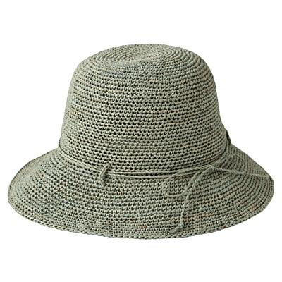 ラフィアこま編みたためるキャペリン ショート 56~57.5cm・グリーン