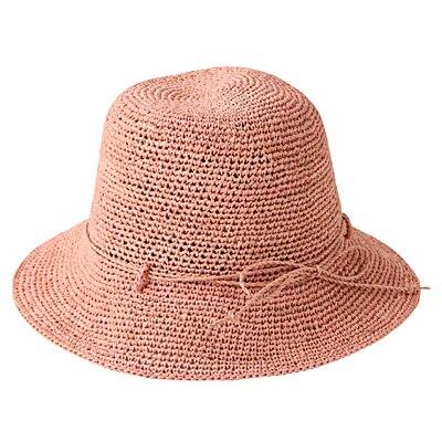 ラフィアこま編みたためるキャペリン ショート 56~57.5cm・ピンク