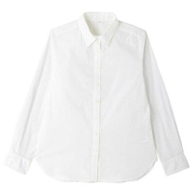 オーガニックコットン洗いざらしブロードシャツ 婦人XS・白