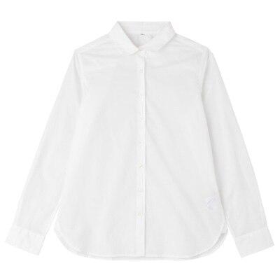 オーガニックコットンブロード丸襟シャツ 婦人XL・白