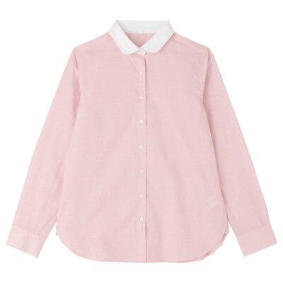 オーガニックコットンブロード丸襟シャツ 婦人XL・ピンク