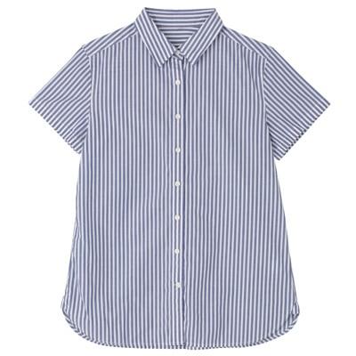 オーガニックコットンブロード半袖シャツ 婦人S・ブルー×ストライプ