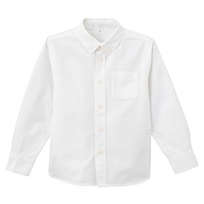 オックスフォード洗いざらしシャツ キッズ150・オフ白