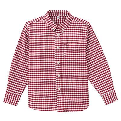 オックスフォード洗いざらしシャツ キッズ130・赤×チェック