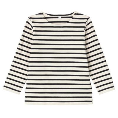 太番手長袖Tシャツ キッズ140・アイボリー×ネイビー