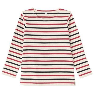 太番手長袖Tシャツ キッズ120・ネイビー×赤