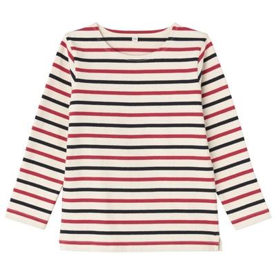 太番手長袖Tシャツ キッズ150・ネイビー×赤