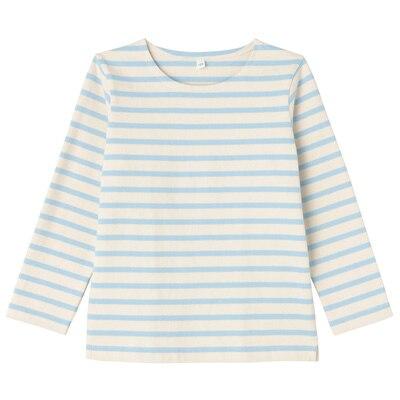 太番手長袖Tシャツ キッズ120・ベビーブルー×ボーダー