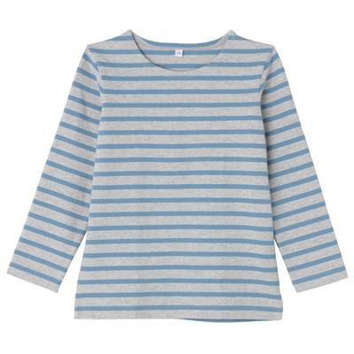 太番手長袖Tシャツ キッズ120・サックスブルー×ボーダー
