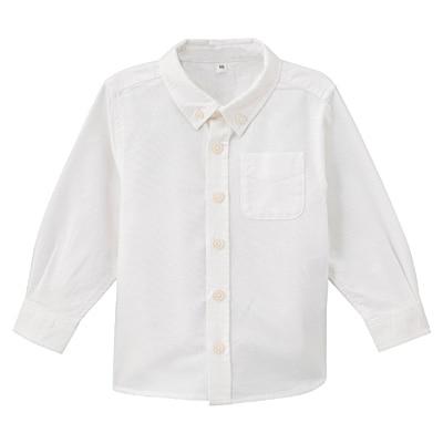 オックスフォード洗いざらしシャツ ベビー100・オフ白