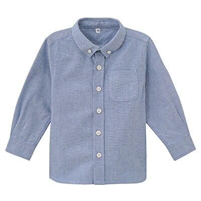 オックスフォード洗いざらしシャツ ベビー80・サックスブルー