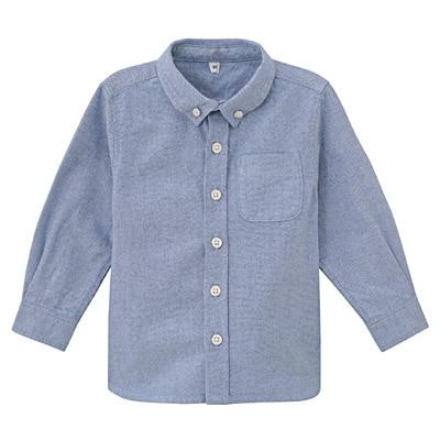 オックスフォード洗いざらしシャツ ベビー100・サックスブルー
