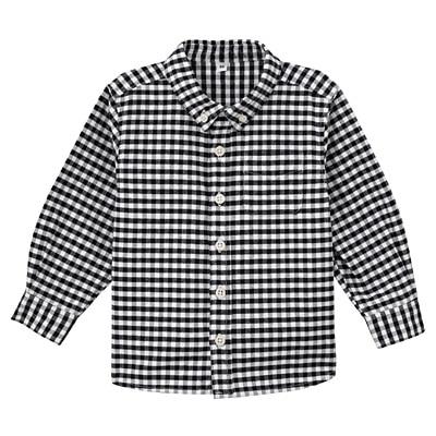 オックスフォード洗いざらしシャツ ベビー90・ネイビー×チェック