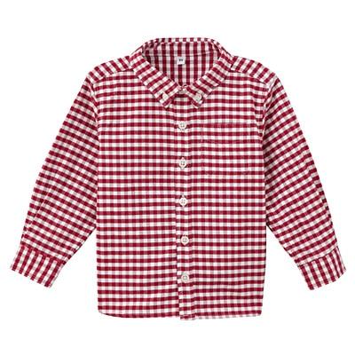 オックスフォード洗いざらしシャツ ベビー80・赤×チェック