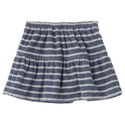 パイルボーダーブルマ付きスカート ベビー100・ブルー×ボーダー