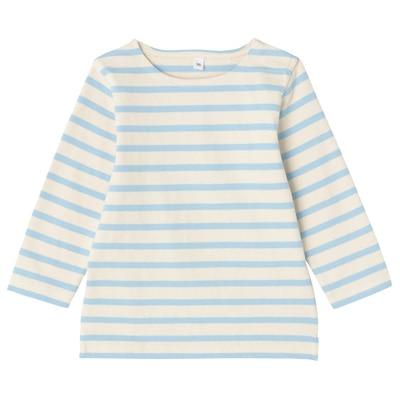 太番手長袖Tシャツ ベビー90・ベビーブルー×ボーダー