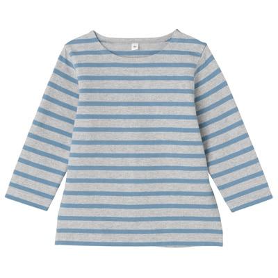 太番手長袖Tシャツ ベビー80・サックスブルー×ボーダー