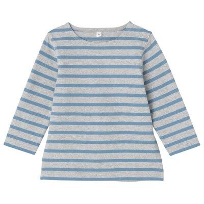 太番手長袖Tシャツ ベビー90・サックスブルー×ボーダー