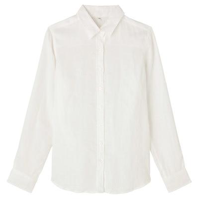 フレンチリネン洗いざらしシャツ 紳士S・白