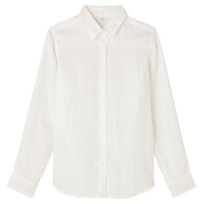 フレンチリネン洗いざらしシャツ 紳士M・白