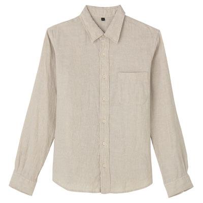 フレンチリネン洗いざらしシャツ 紳士L・生成