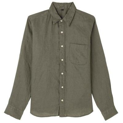 フレンチリネン洗いざらしシャツ 紳士L・カーキグリーン