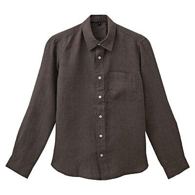 フレンチリネン洗いざらしシャツ 紳士XS・ブラウン