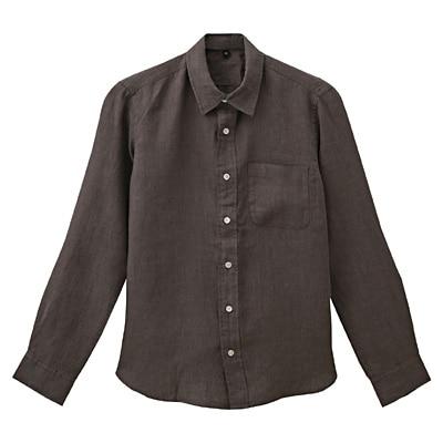 フレンチリネン洗いざらしシャツ 紳士L・ブラウン