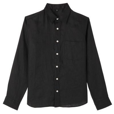 フレンチリネン洗いざらしシャツ 紳士XS・黒
