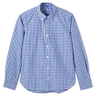 オーガニックコットンギンガムボタンダウンシャツ 紳士L・ブルー