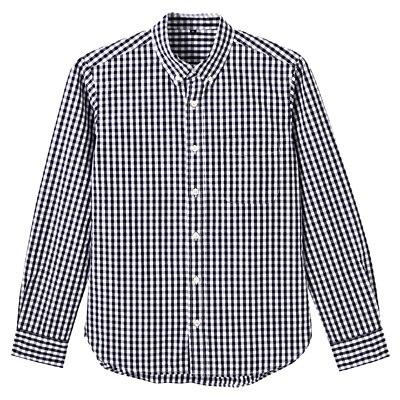 オーガニックコットンギンガムボタンダウンシャツ 紳士M・黒