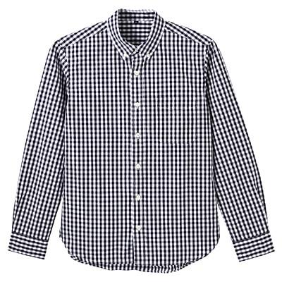 オーガニックコットンギンガムボタンダウンシャツ 紳士XL・黒
