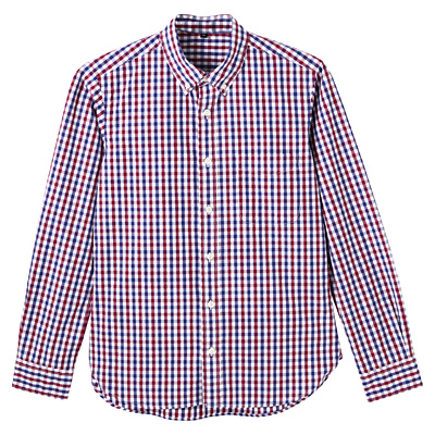 オーガニックコットンギンガムボタンダウンシャツ 紳士S・赤