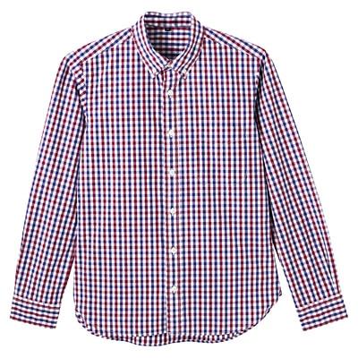 オーガニックコットンギンガムボタンダウンシャツ 紳士M・赤