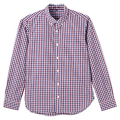 オーガニックコットンギンガムボタンダウンシャツ 紳士XL・赤