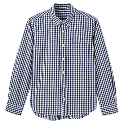 オーガニックコットンギンガムボタンダウンシャツ 紳士L・グリーン