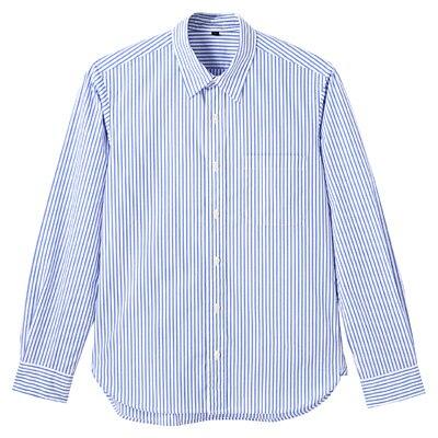 オーガニックコットンストライプシャツ 紳士S・ブルー