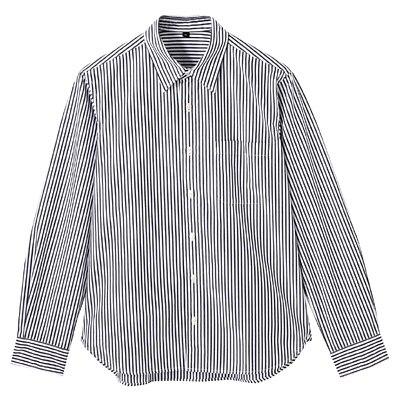 オーガニックコットンストライプシャツ 紳士M・黒