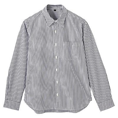 オーガニックコットンストライプシャツ 紳士L・黒
