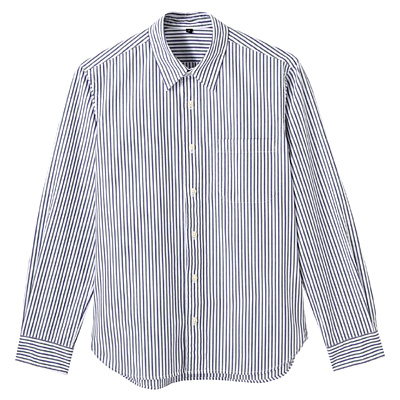 オーガニックコットンストライプシャツ 紳士L・グリーン