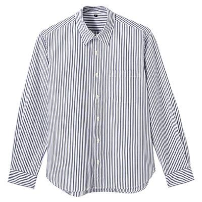 オーガニックコットンストライプシャツ 紳士XL・グリーン