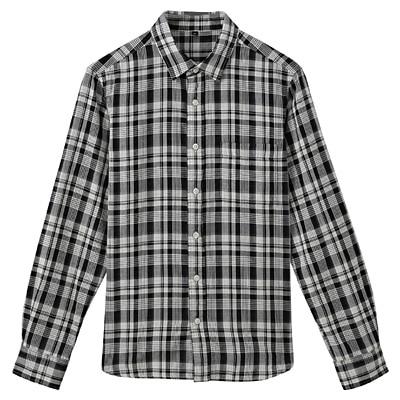 オーガニックコットン二重ガーゼチェックシャツ 紳士S・黒