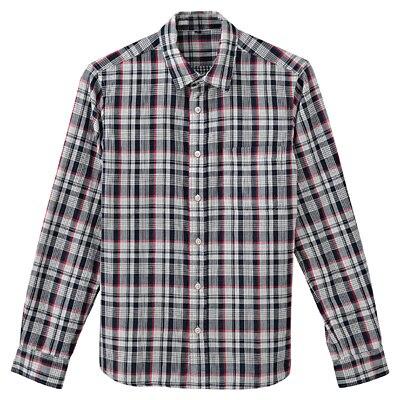 オーガニックコットン二重ガーゼチェックシャツ 紳士XL・ネイビー
