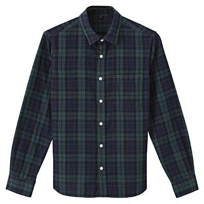 オーガニックコットン二重ガーゼチェックシャツ 紳士L・ダークグリーン