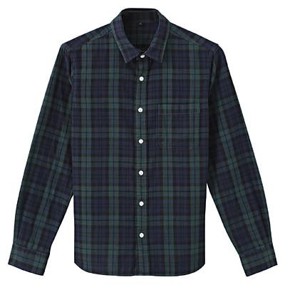 オーガニックコットン二重ガーゼチェックシャツ 紳士XL・ダークグリーン