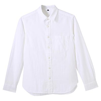 オーガニックコットン二重ガーゼシャツ 紳士S・白