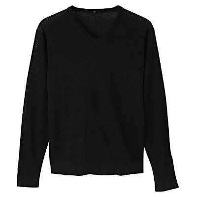 フレンチリネンVネックセーター 紳士S・黒